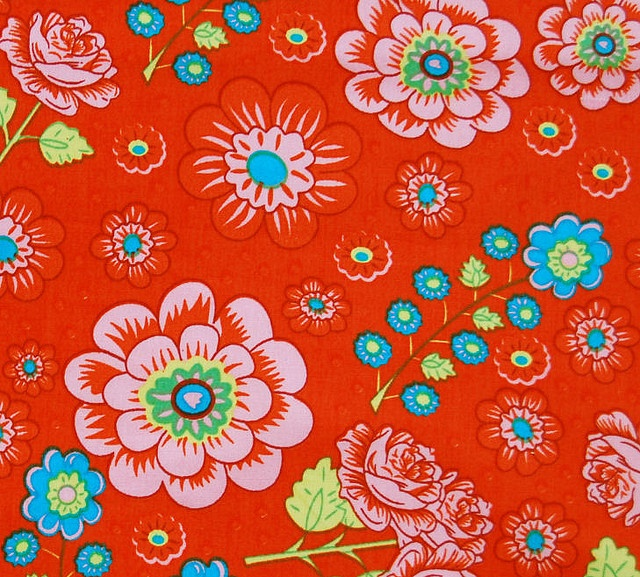 Dutch Red Colored Floral Fabric, Oilily style by fromhollandwithlove, via Flickr