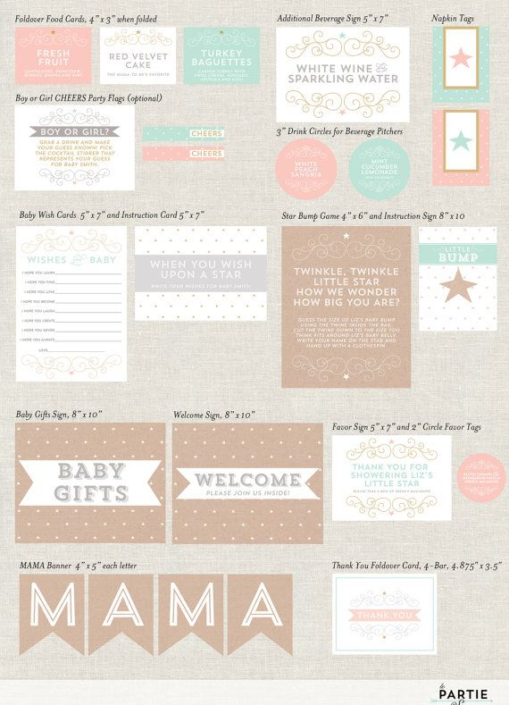 Twinkle Twinkle Little Star - Baby Shower Partie Kit - Available in Four Colors
