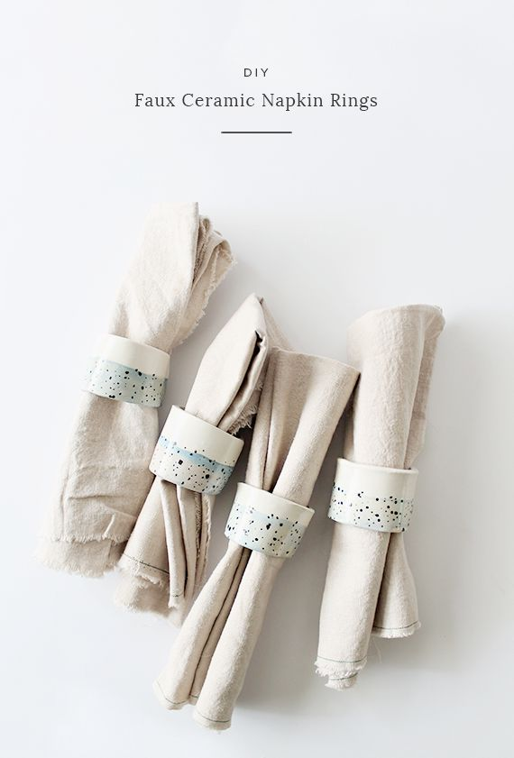 Roll up your napkins using these DIY faux ceramic rings.