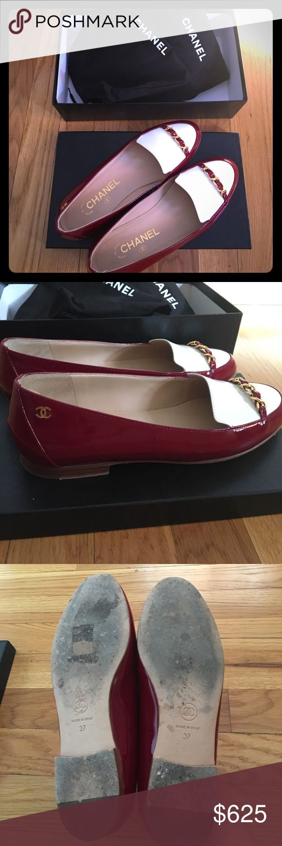 chanel loafers authentic chanel patent leather loafers in very good condition the only wears are