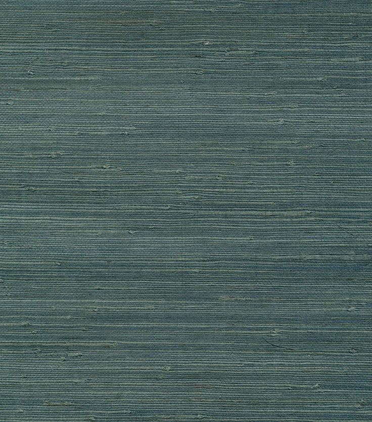 Jurou Blue Grasscloth Wallpaper Teal grasscloth