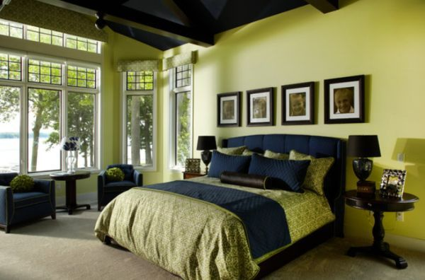 master bedroom decor green | Traditional bedroom featuring green as the main color, in contrast ...