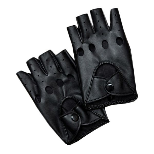 Blackfive Hollow Out Leather Fingerless Biker Gloves ($15) ❤ liked on Polyvore featuring accessories, gloves, blackfive, other, fingerless gloves, black and white gloves, bike gloves, leather gloves en red gloves
