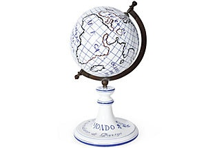 White and blue porcelain globe with bronze fittings. Marked Capodimonte on bottom, dated 1827; 16''H x 9''Dia.