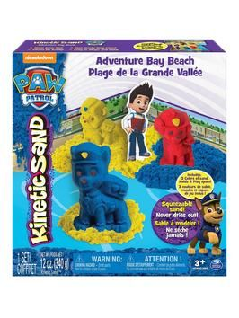 The Paw Patrol is on a roll with this Kinectic Sand Playset! Now you can mould 3 of your favourite Paw Patrol pups – Rubble, Chase and Marshall – and play at Adventure Bay Beach! With 3 colours of Kinetic Sand and 3 unique pup moulds, young fans of the Nickelodeon cartoon show will love having fun with their heroes and this amazing kinetic sand.It's easy to mould, create and play with the included Adventure Bay play space. Just open up the box, create the beach out of Kinetic Sand and let…