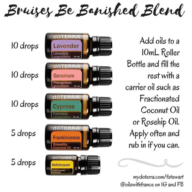 ALSO POST ON FB  This came in handy as I've had a few mishaps lately! :D  Apply it a few times a day and watch the bruises vanish. If you don't have one of those oils just omit it or replace it with more drops of the other oils.  Geranium on its own is also very good for bruises.  Ceci fût plutôt pratique parceque j'ai eu deux ou trois nouveaux bleus pendant mes vacances et au retour aussi... mais un des bleus en a vallu la peine parcequ'il m'a empêché de renverser notre repas (et que je…