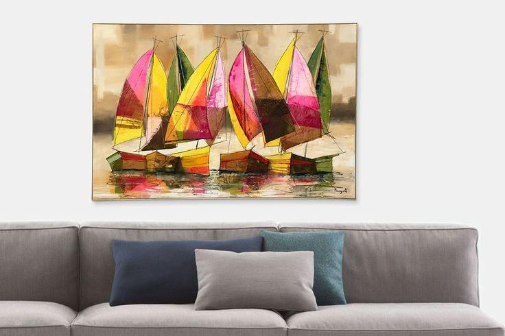 Dipinto di vele colorate sul mare serale di Paolo Fumagalli | fluidofiume Galleria d'arte