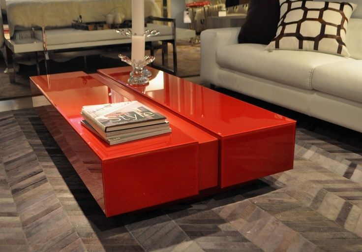 Red lacquered glass coffee table color code pinterest for Red modern coffee table