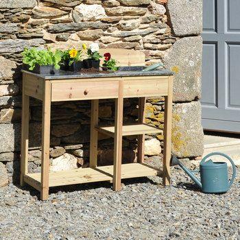 Table de rempotage en bois 100 x 40 x 80 cm cour arri re for Table de jardinage en hauteur