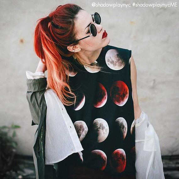 Blood Moon Tank Top, Reversible  Printed jersey tank top featuring images of the moon in the different stages of a lunar eclipse. Fully reversible