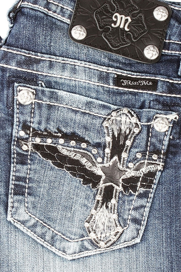 Miss Me Boot Cut Black Cross and Wings Jeans