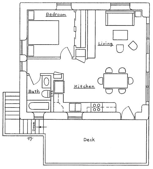Garage apartment plan in law suite or apartment for In law apartment plans