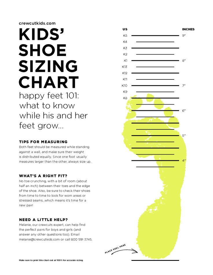 Selective image in kids shoe size chart printable