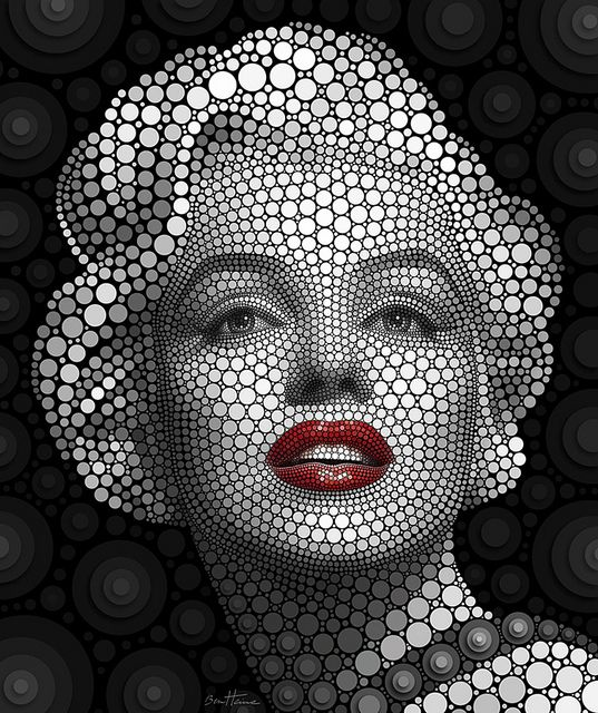 Marilyn Monroe by Ben Heine. This portrait is made with thousands of flat circles—each circle placed individually on a black background. Designated as Digital Circlism, this portrait series seems to be a synthesis of Pop Art and Pointillism