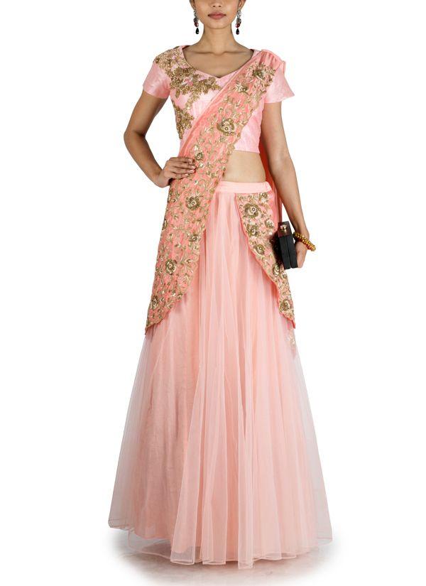 Anju Agarwal | Peach Pink Lehenga Saree | Shop Sarees at strandofsilk.com