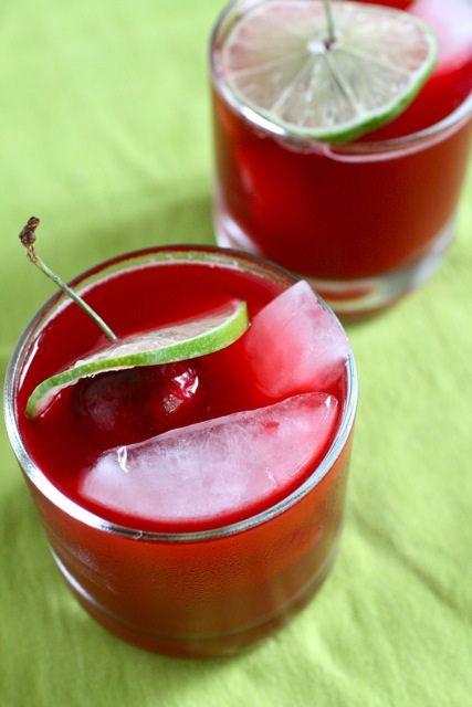 Cherry Margaritas:  12 fresh Sweet cherries, pitted  2 1/2 Tbsp Tequila  2 Tbsp fresh Lime Juice  1 1/2 Tbsp (or more) Simple Syrup  1 Tbsp Maraschino Cherry Liquor, or maraschino juice,  1 fresh Cherry with Stem   http://www.annies-eats.com/2011/07/21/fresh-cherry-margaritas/