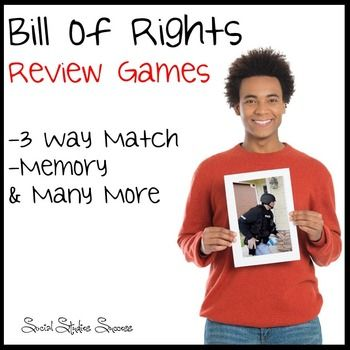Bill of Rights Review Games This product will give you multiple games to review the Bill of Rights with your students! All of these games will help your students prepare for any test or quiz on the Bill of Rights. These purchase include pictures, excerpts and explanation cards for the Bill of Rights.