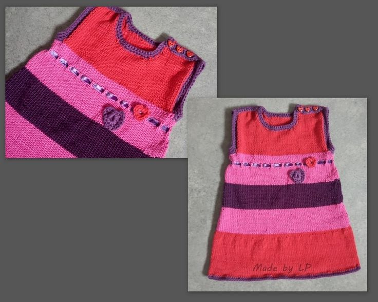 Knitted dress with crochet details. Size 3 year. My own design and I used eco-ceritied cotton yarn. For a girl soon to become a big sister