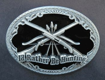 I'D RATHER BE HUNTING HUNTER TWO REVOLVERS GUNS COOL BELT BUCKLE