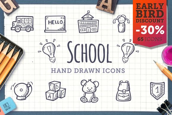School - Hand Drawn Icons by Good Stuff, No Nonsense on @creativemarket