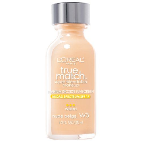 L'Oreal Paris True Match Super-Blendable Makeup, Nude Beige,...I LOVE LOREAL True Match foundation's..They have tons of colors and for every undertone C for cool, W for warm and N for Neutral..I use this fondation in W5 & but it seems quite watered down compare to my Kat Von D foundation which is a thicker substance & dries very bit too quick so I sometimes mix