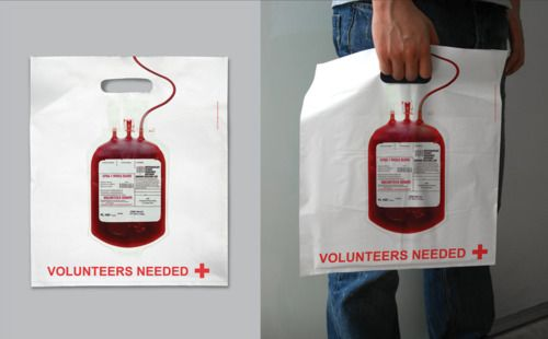 Blood donation shopping bag
