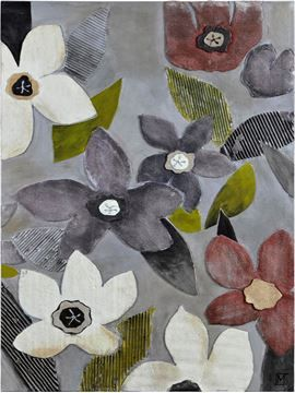 $129, Mesmerist Wall Art OL999, 50'' x 4'' x 26'', Flowers in relief set on a sleek silver background make a striking feminine yet modern piece. Hand-painted with textured foam on canvas.