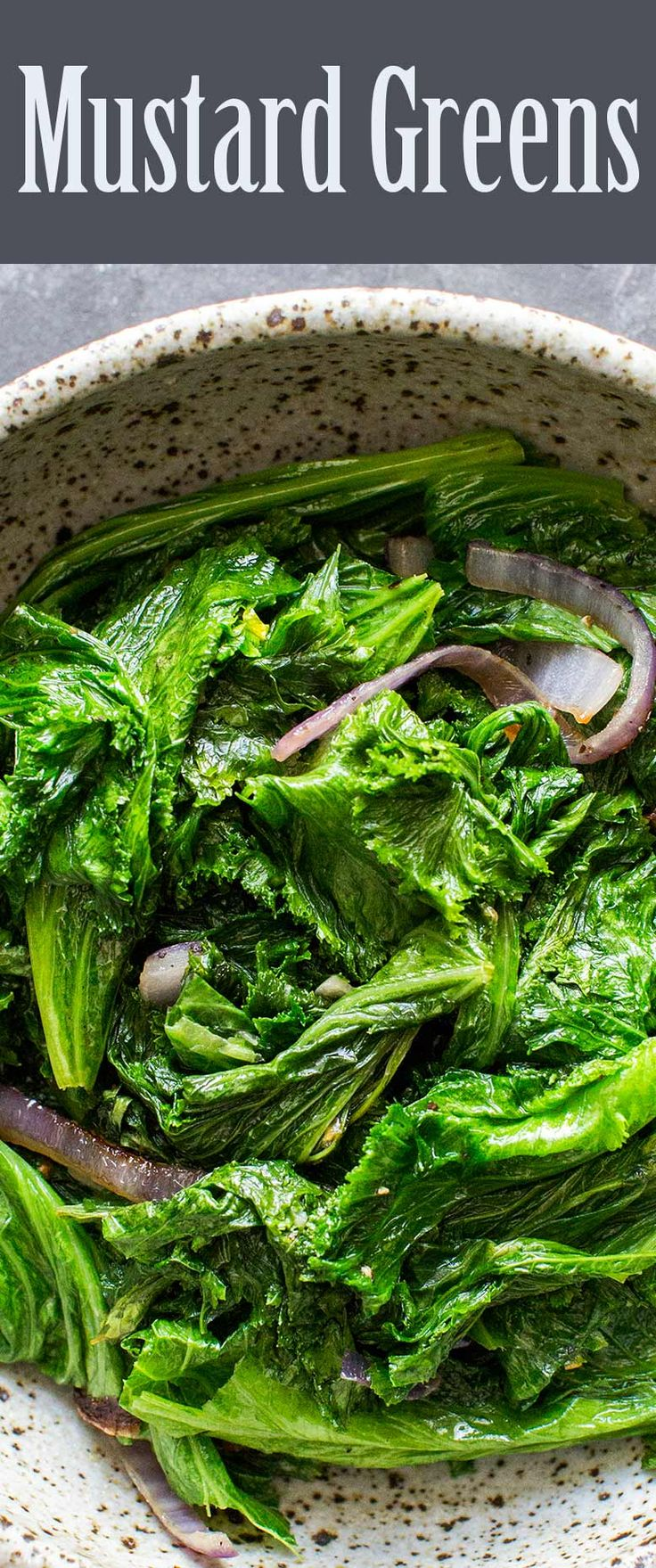 Peppery Mustard Greens! simply sautéed with onions, garlic, and olive oil and a dash of sesame oil to finish. Paleo, gluten-free, vegan, healthy. Great side dish!