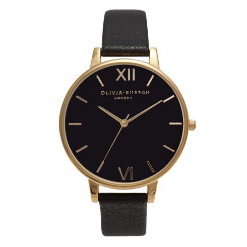 Olivia Burton Black Dial and Gold watch.