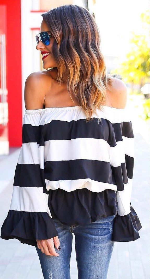 #pretty #winter #outfits /  Striped Off Shoulder Top // Ripped Skinny Jeans // Black Sandals