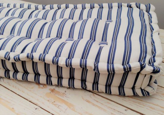 Ticking Bench Seat Handmade French Mattress Box Cushion Window Seat Outdoor Living Vintage Inspired Please Note Full Price On Quotation Bench Seat Pads French Mattress Reupholster Furniture