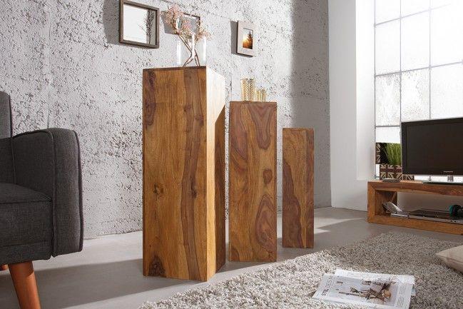 Design Beistelltisch Säule MAKASSAR 3er Set 80cm/70cm/60cm hoch Sheesham Stone Finish - Rustikal, exklusiv und mit viel Klasse präsentieren sich diese schönen Beistelltische im Set. Die wundervolle Ma