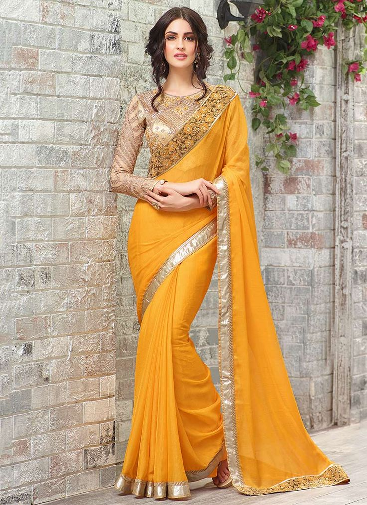 Yellow Chiffon Border Saree. This Yellow colored sari in Faux Chiffon fabric goes well with any occasion.