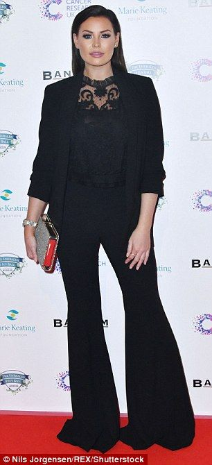 Suit you: TOWIE's Jessica Wright put on a fashion forward display in her flared suit look...