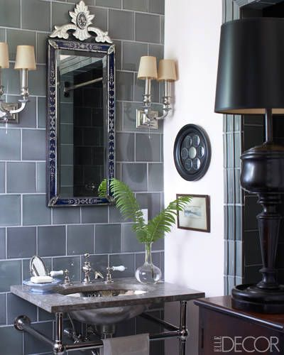 A 1920s Venetian mirror: Glasses Tile, Guest Bathroom, Gray Tile, Elle Decor, Venetian Mirror, Bathroom Wall, Tommy Hilfiger, Grey Tile, Powder Rooms