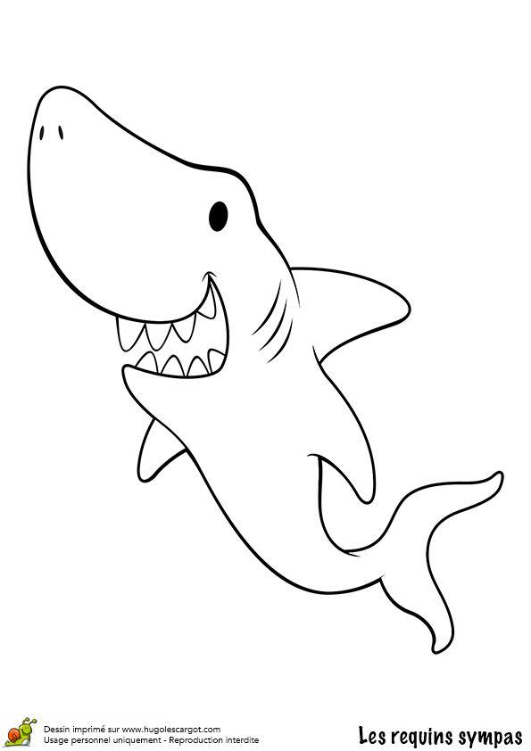 Ce requin a l'ai vraiment sympa, dessin facile à colorier