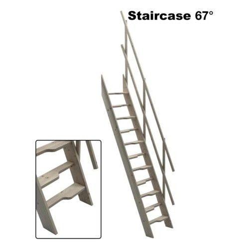 Steep Hill 60 Wooden Staircase Kit Loft Stairs/ladder W 600mm Profiled Steps