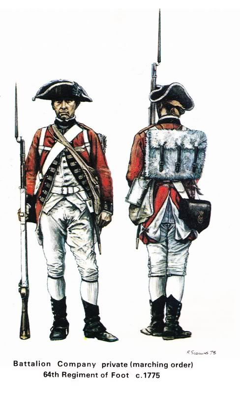 Bn Co Pvt (Marching Order), 64th Regt of Foot, c. 1775
