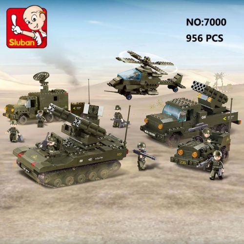 Sluban-B7000-Army-Tank-Helicopter-Vehicle-Figures-Enlighten-Building-Blocks-Toy