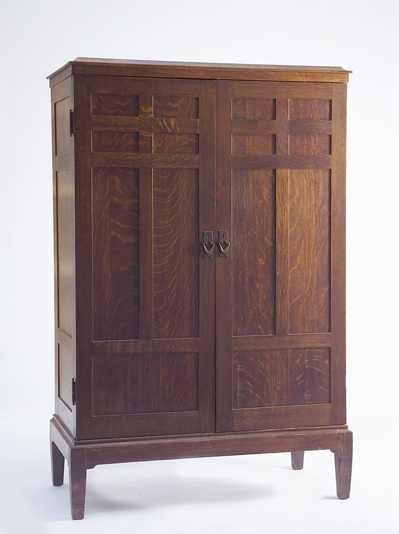 Superb 20th C Gustav Stickley Labeled Two Door Armoire With Paneled Doors