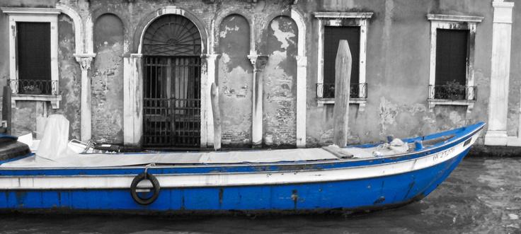 Blue Boat in Venice