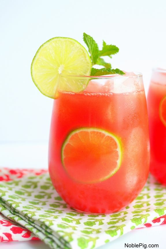 Watermelon Banana Rum Coolers, a refreshing cocktail everyone will love from NoblePig.com.