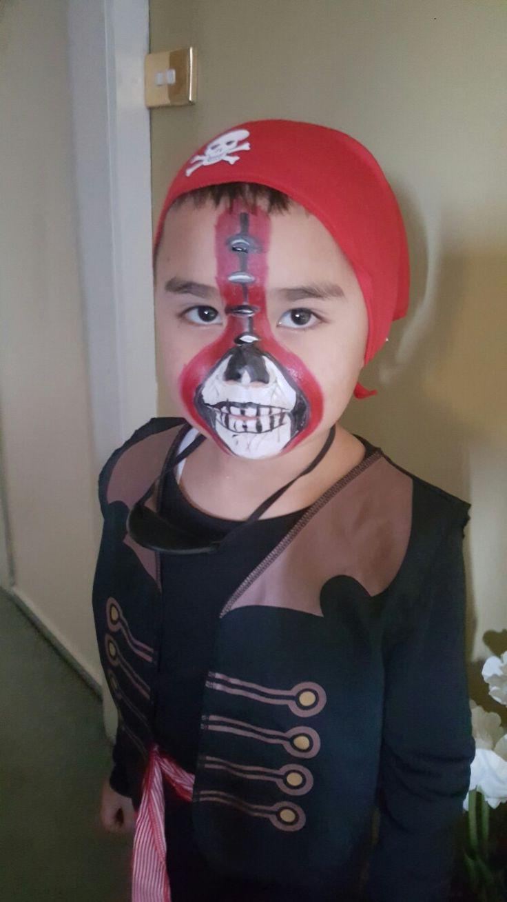 Pirate Kid face paint. Halloween 2017