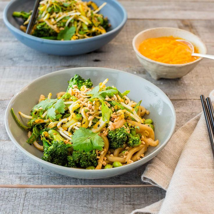 Udon Noodles with Bok Choy Salad and Carrot and Ginger Dressing