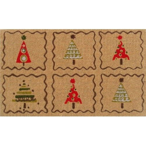 Home & More Christmas Trees Doormat. HOMO1104 Features: Material: 100pct Coir and vinyl Long-lasting and durable traps dirt and moisture, keeping debris from your home Color/Finish: Rich in color, unique in design and offers stable footing Fade resistant, color fast and weather tolerant. Price: $19.99