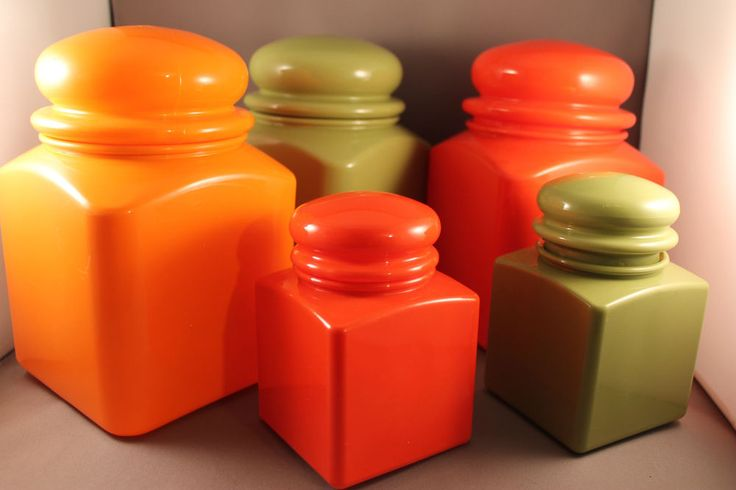 70er Jahre 5 x Dosen buntes Set Pop Design 70s 5 x Plastic Cans Space Age Boxes