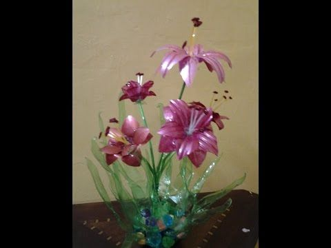 Best Out Of Waste Plastic bottles transformed to lovely lily plant Showp...
