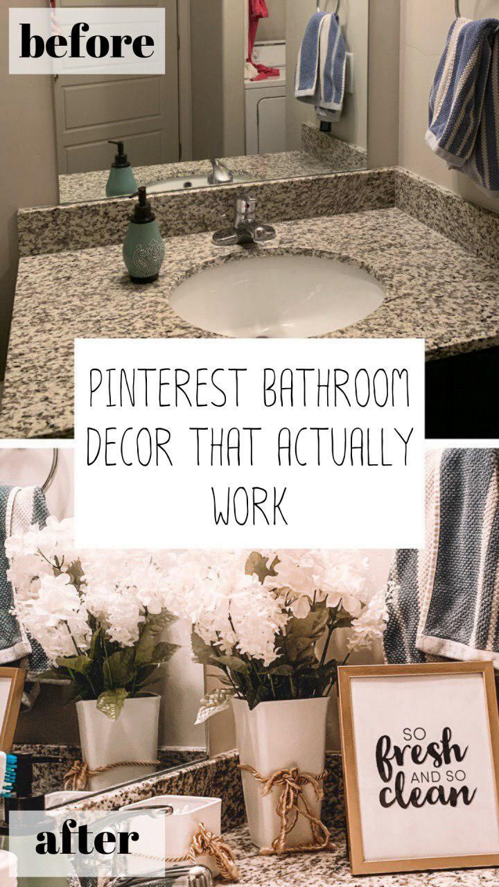 Pinterest Bathroom Decor That Actually Worked Diy Bathroom Decor Ideas Diy Bathroom Decor Bathroom Decor Diy Bathroom