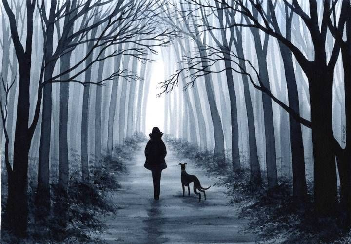 Dianne Heap ART DOG GALGO PRINT TREES