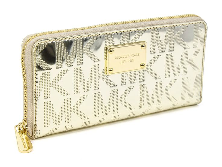 Michael Kors Pale Gold Signature Mirror Metallic Zip Around Continental  Wallet